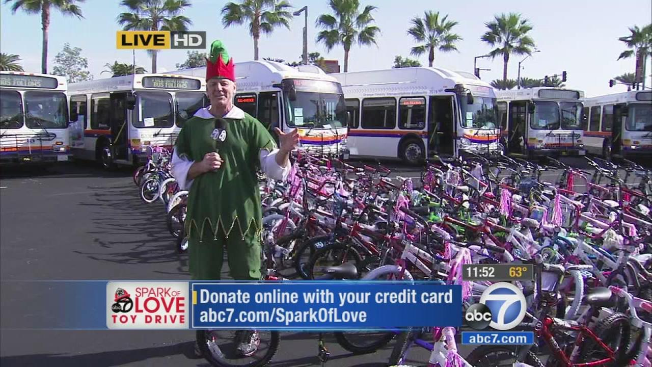Generous ABC7 viewers donated a whopping 200 bicycles at the final Stuff-A-Bus event in Anaheim on Friday, Dec. 19, 2014.