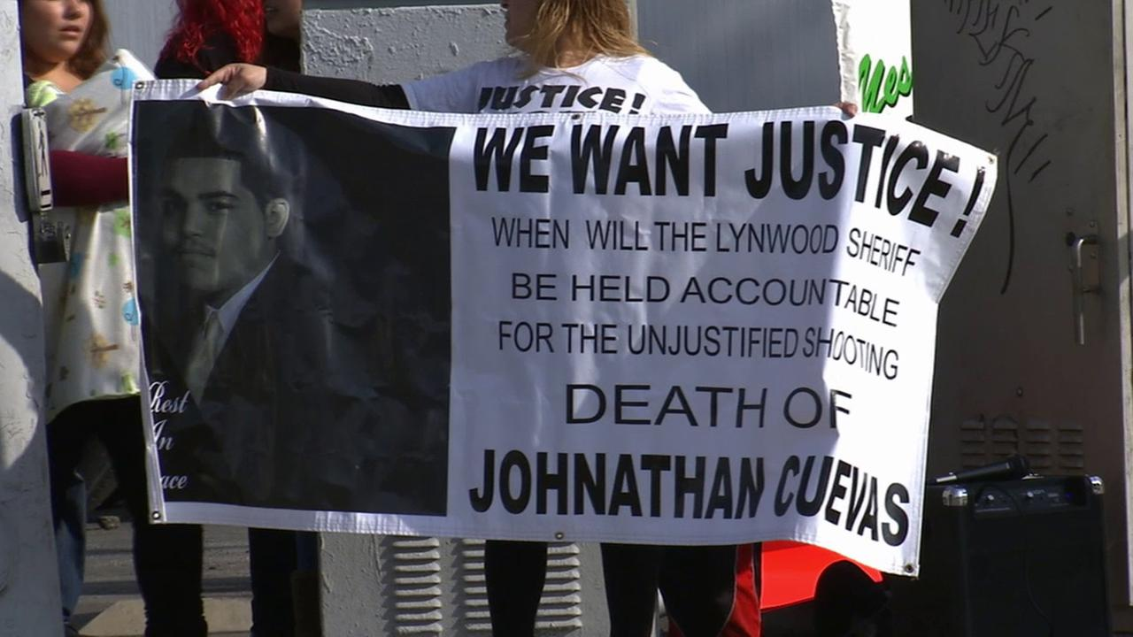 Lynwood demonstrators rally over police brutality in memory of Johnathan Cuevas, who was shot and killed by a Los Angeles sheriffs deputy in 2010.