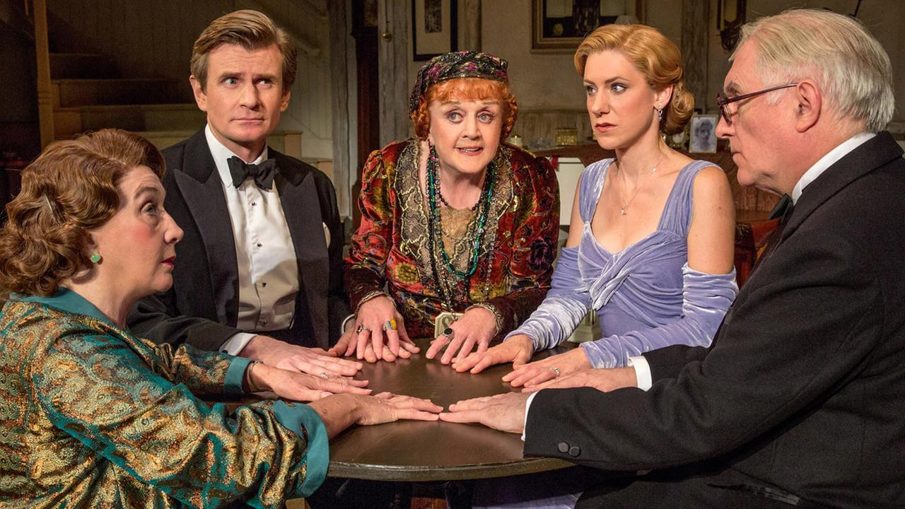 Sandra Shipley, Charles Edwards, Angela Lansbury, Charlotte Parry and Simon Jones in Noel Cowards Blithe Spirit at the Ahmanson Theatre.