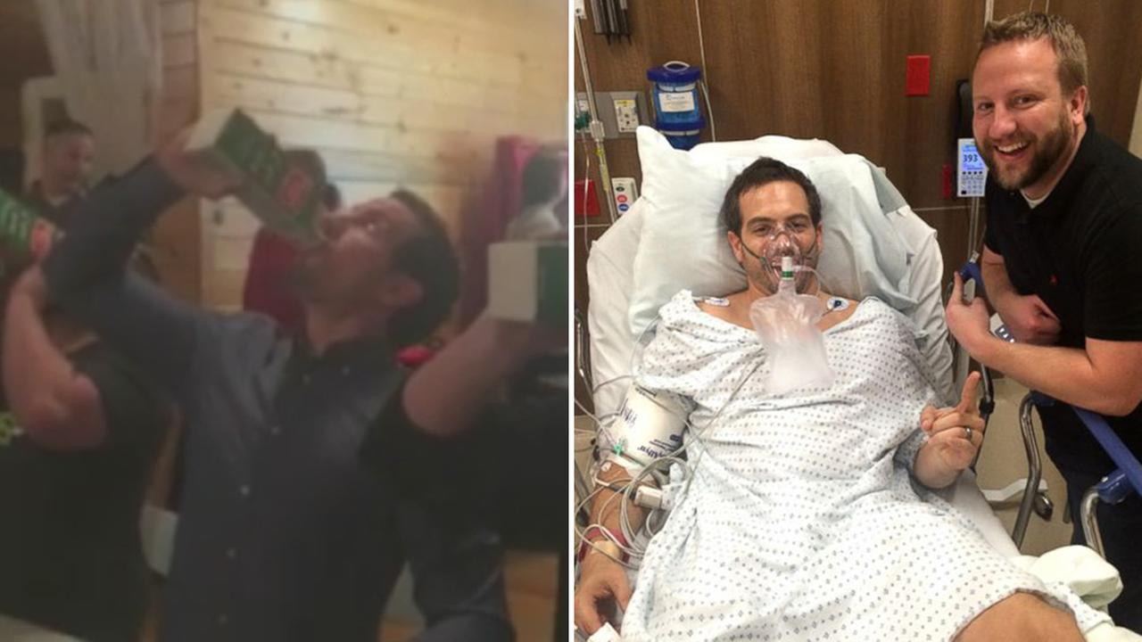 Ryan Roche participates in his offices holiday party eggnog chugging contest (left). Ryan Roche lies in his hospital bed (right).
