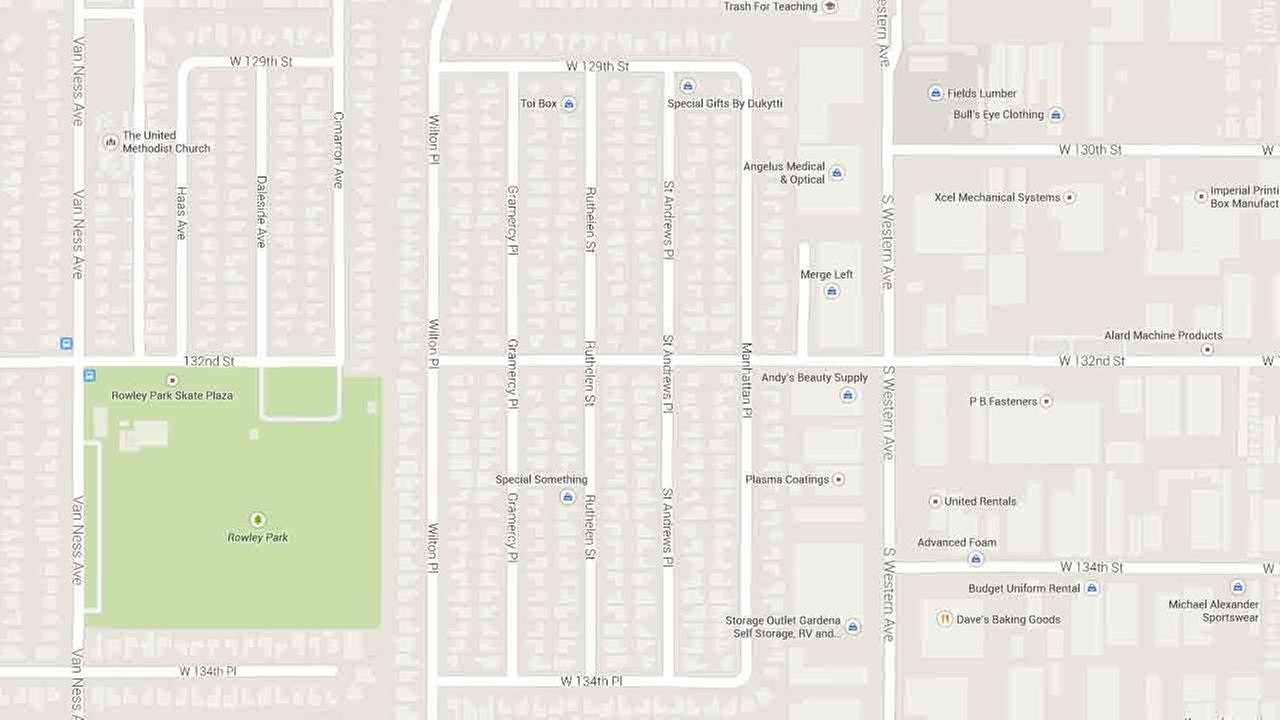 This Google Maps image indicates the area bounded by 129th St on the north, Gramercy Place on the west, 132nd St on the south, and St. Andrews Place on the east in Gardena.