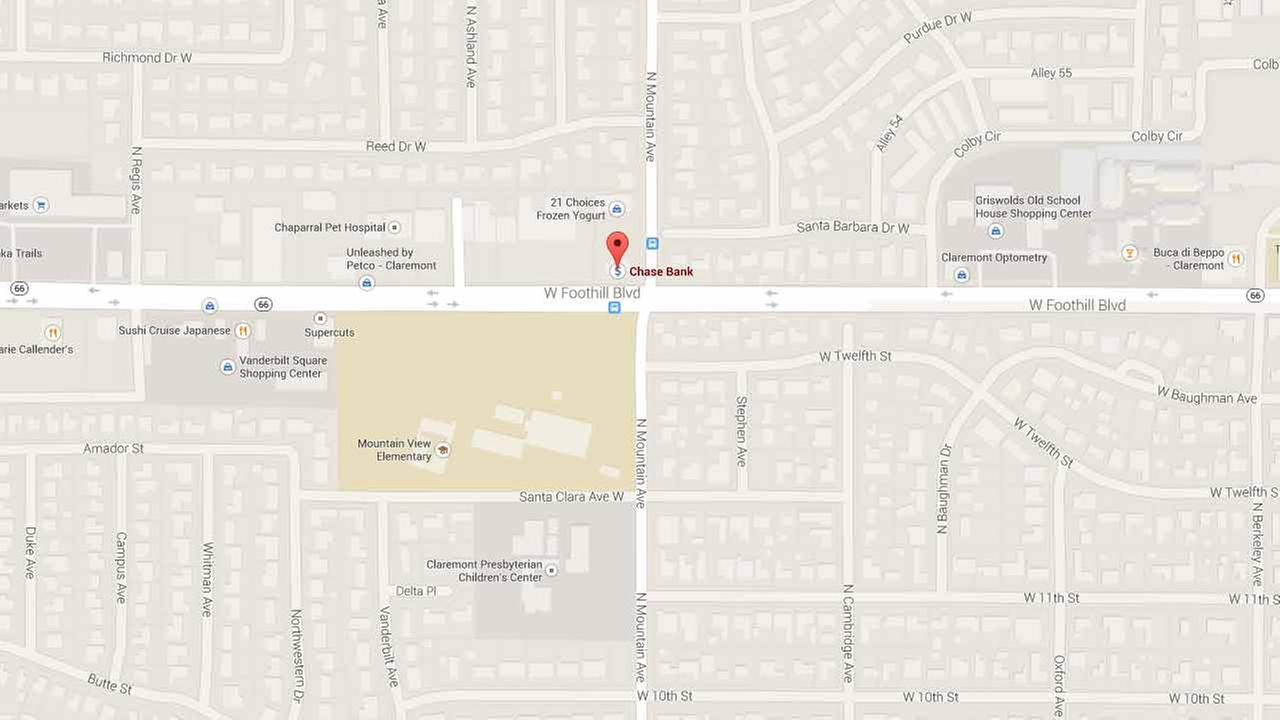 This Google Maps image shows the location of a Chase bank branch in the 800 block West Foothill Boulevard in Claremont.