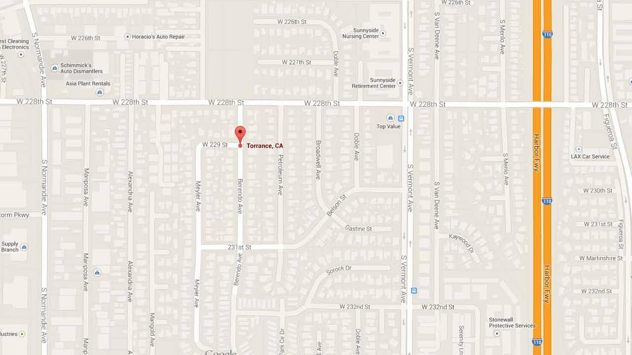 This Google Maps image shows the location of a fatal shooting in Torrance on Sunday, Dec. 28, 2014.