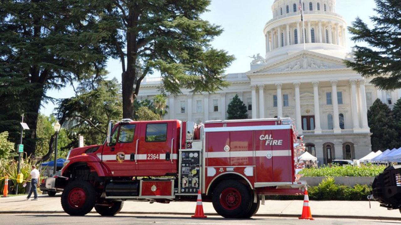 In this undated file photo, a Cal Fire fire truck parks in front of the State Capitol building during an emergency preparedness demonstration.