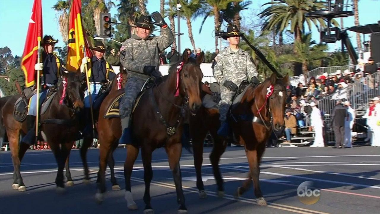 Officers in the 1st Cavalry Division Horse Cavalry Detachment ride on horses in the 126th Rose Parade on New Years Day.