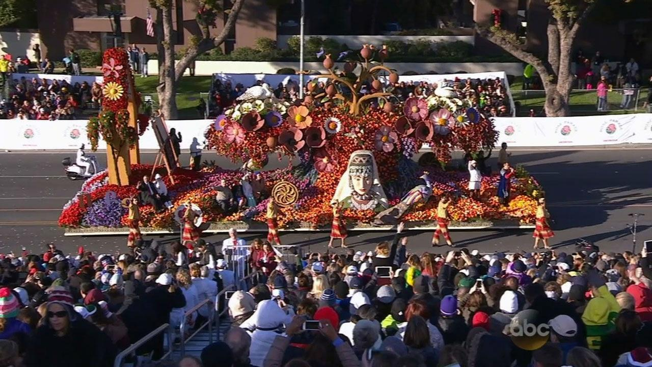 The American Armenian Rose Float Associations float for the 2015 Rose Parade is shown on New Years Day.