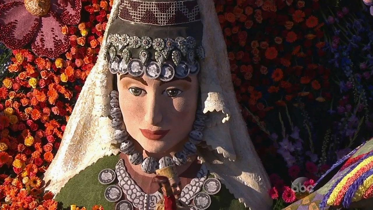 A close-up of the American Armenian Rose Float Associations float is shown on New Years Day.