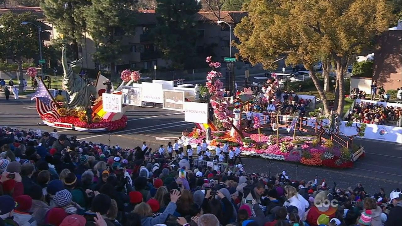 Hondas float, themed Building Dreams of Friendship, moves in the 2015 Rose Parade on New Years Day.
