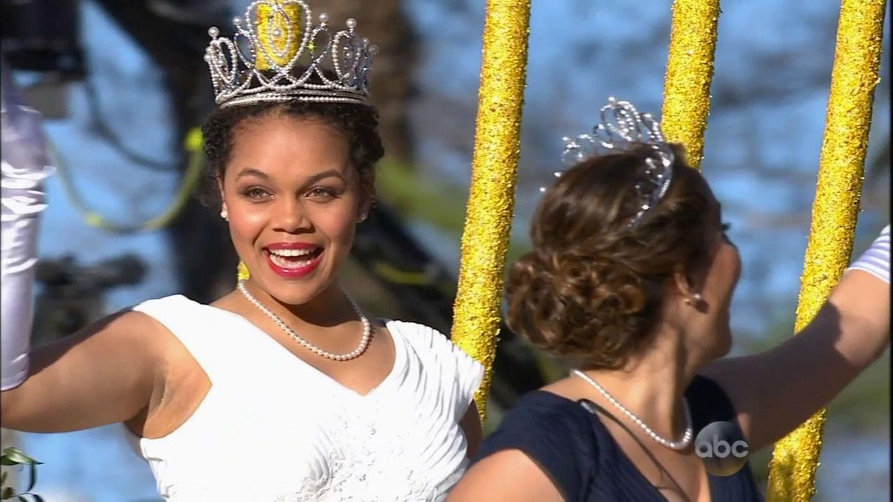 Madison Triplett, queen of the Rose Parade Court, waves to the crowd on New Years Day.