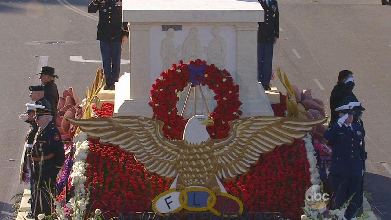 A close-up of the Odd Fellows and Rebekahs Rose Float is shown in the 2015 Rose Parade on New Years Day.