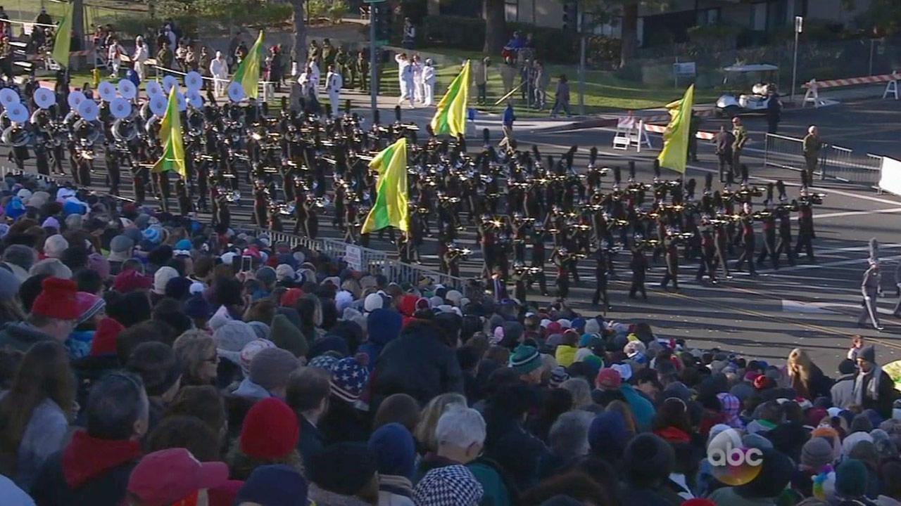Members of the Round Rock High School Dragon Band perform in the 2015 Rose Parade on New Years Day.