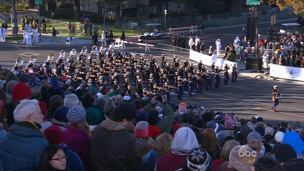 The United States Marine Corps West Coast Composite Band performs in the 2015 Rose Parade on New Years Day.