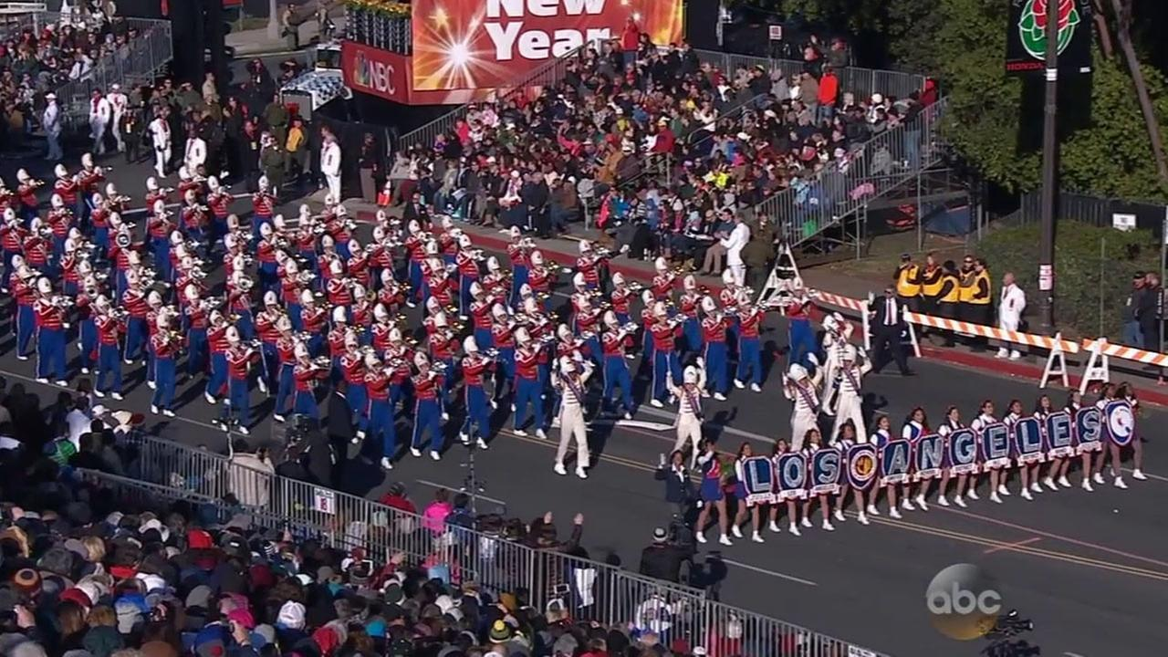 A total of 380 students march as part of the L.A. Unified School District All District High School Honor Band at the Rose Parade.