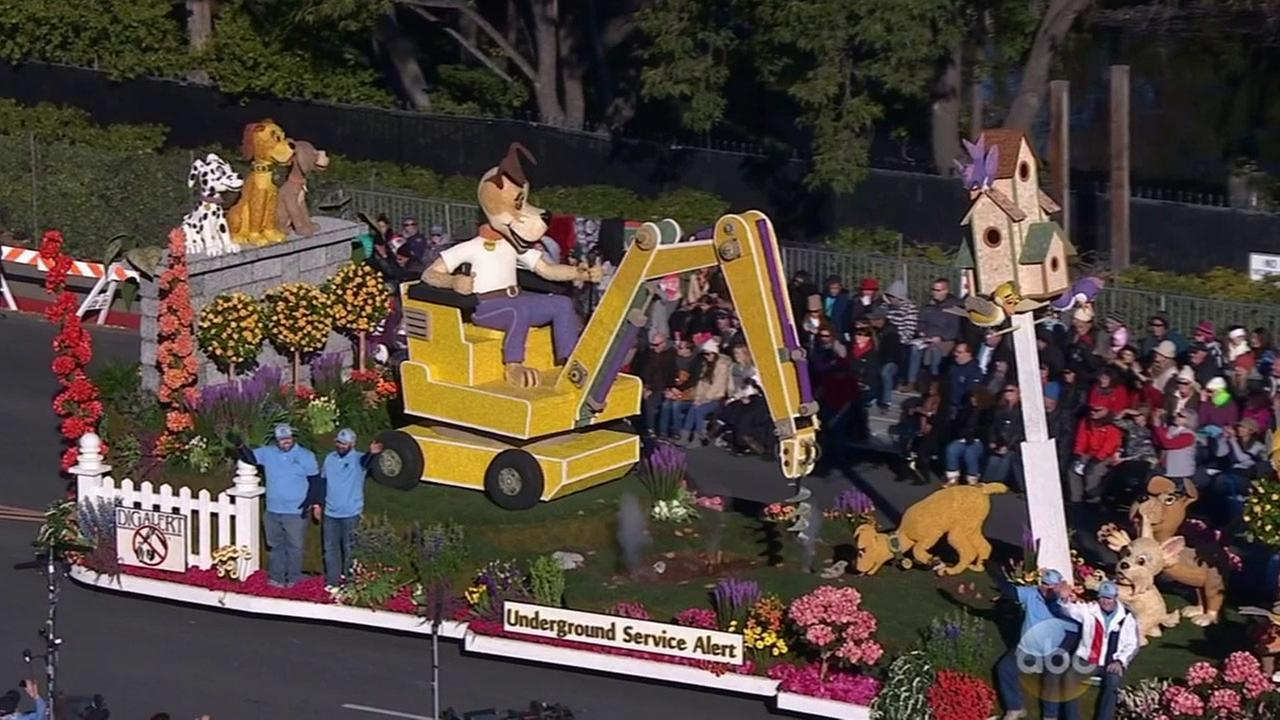 The Underground Service Alert of Southern California float features a dog operating a crane and is 24 feet high and 55 feet long.