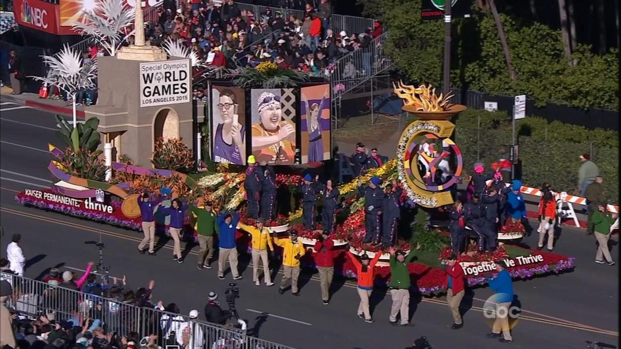 The Kaiser Permanente float features athletes from the Special Olympics, which will be held this year at in Los Angeles.