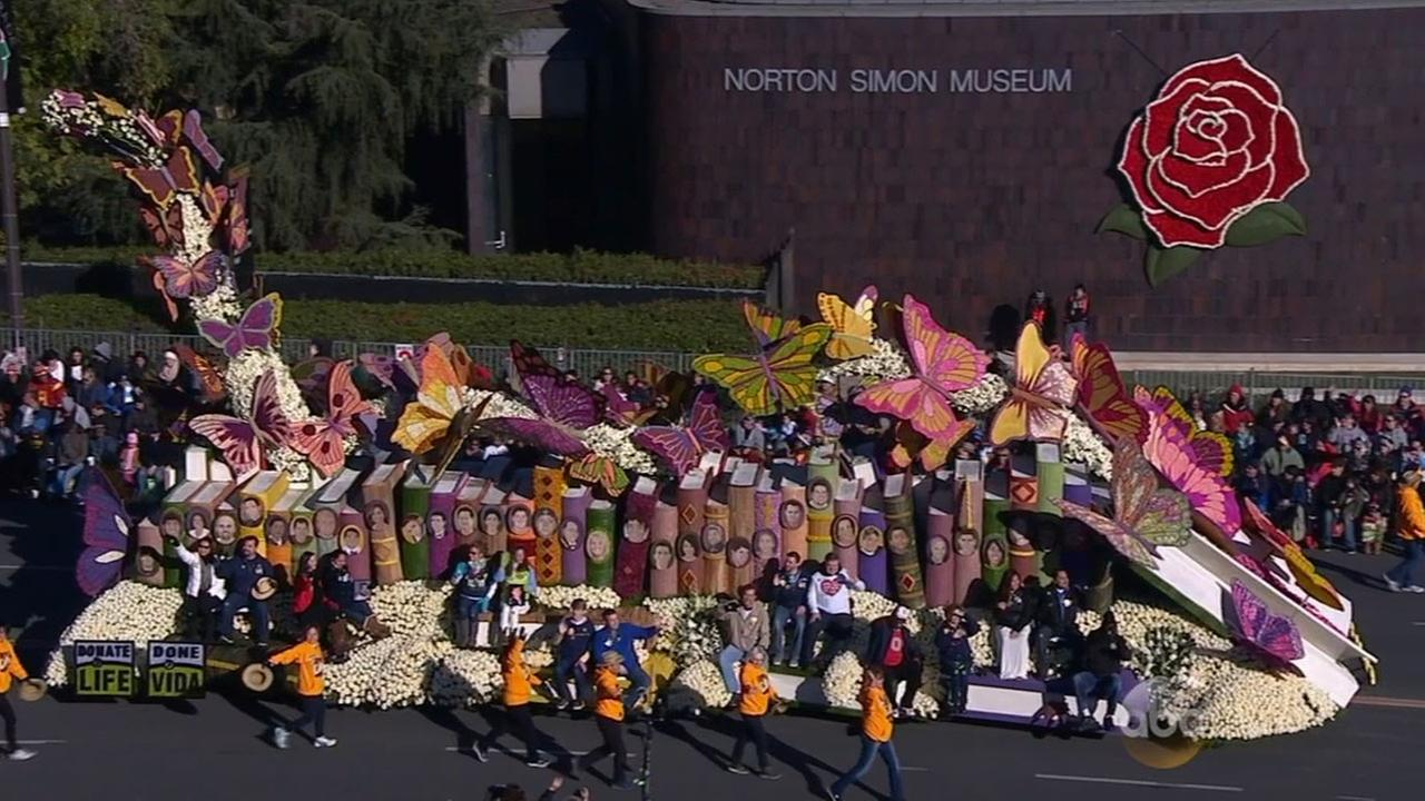 The Donate Life float honors organ donors who helped many lives at the Rose Parade in Pasadena on New Years Day.