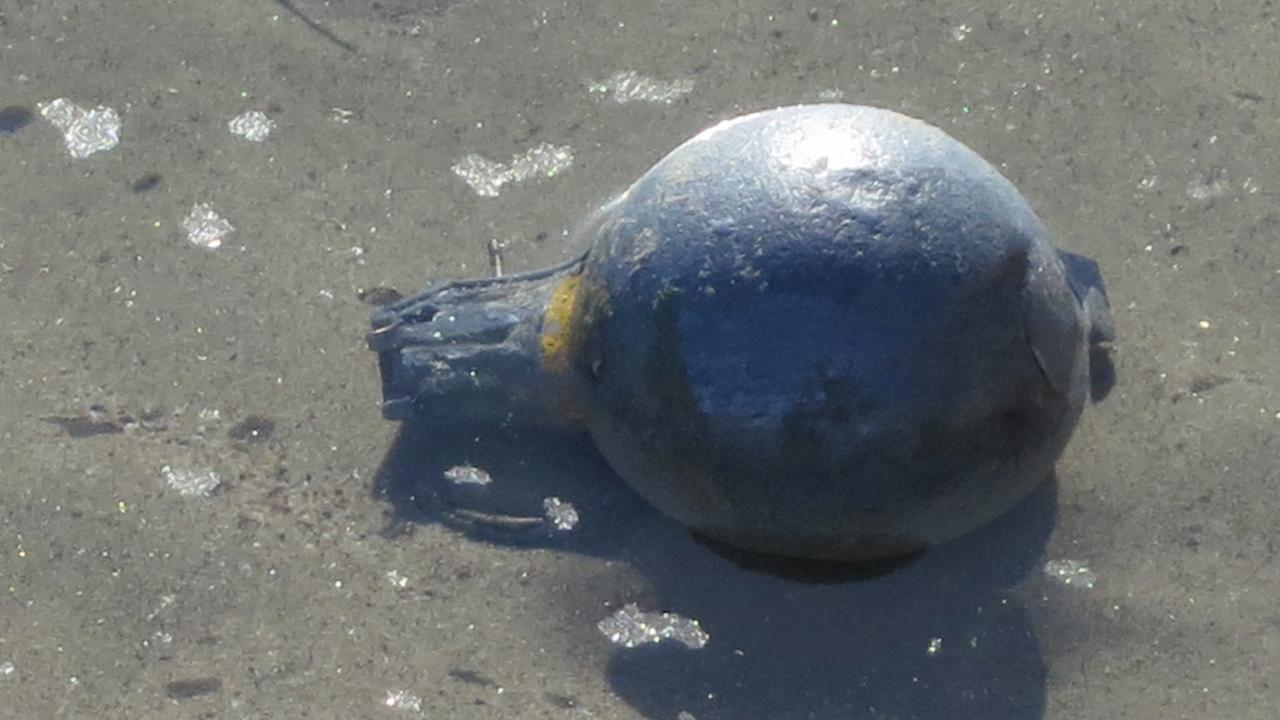 An item resembling an explosive device, shown above, washed up on the shores at Paradise Cove in Malibu on Thursday, Jan. 1, 2015.