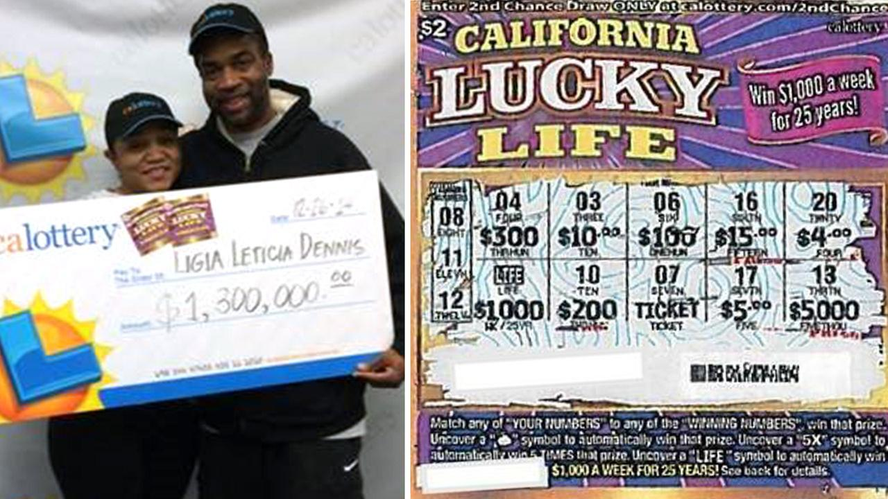 Ligia Dennis, 26, and fiance Tim Ballany hold a giant check for $1.3 million (left). Dennis winning lotto scratcher (right).