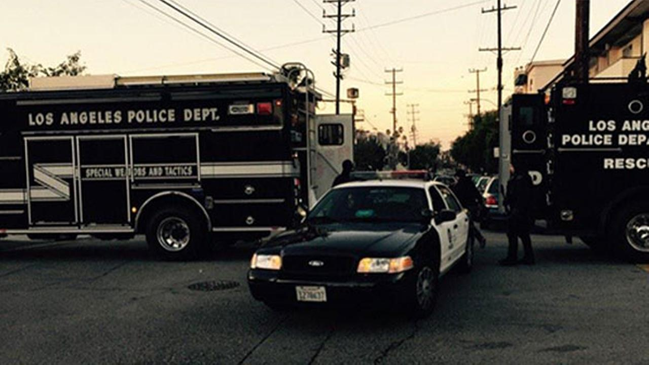 Police on scene of a standoff at an apartment complex in West Los Angeles on Sunday, Jan. 4, 2015.