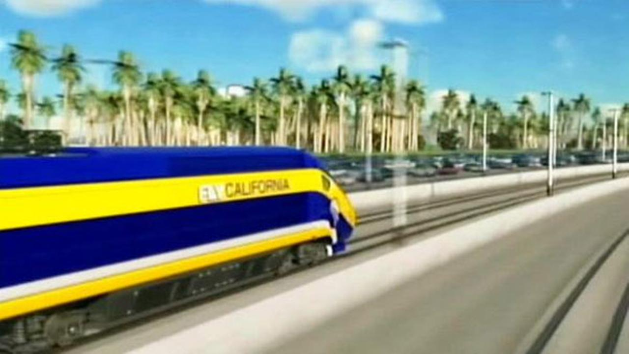 An artist rendering shows Californias high-speed rail project.
