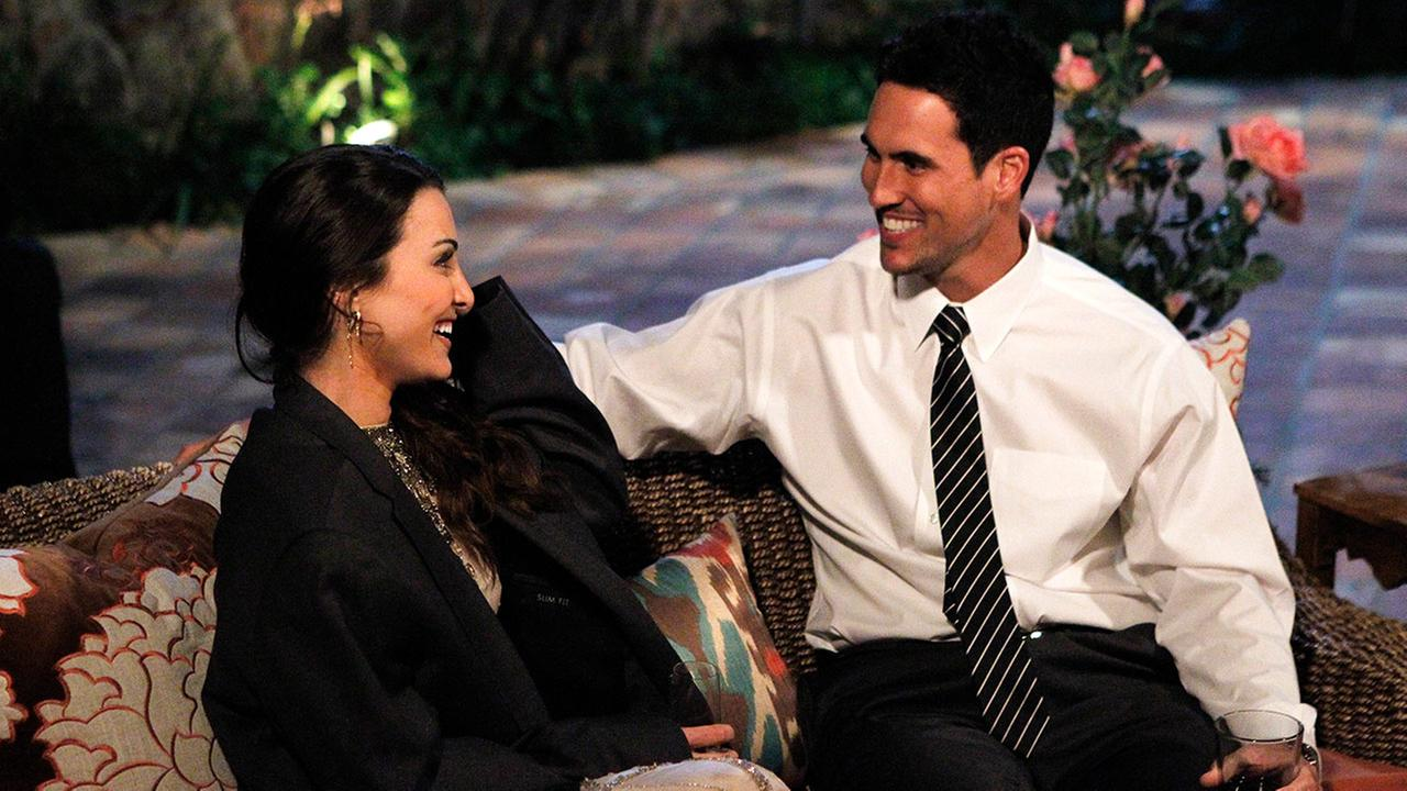 Josh Murray, right, talks with bachelorette Andi Dorman during filming for ABCs popular romance reality series, The Bachelorette, in Agoura Hills, Calif.