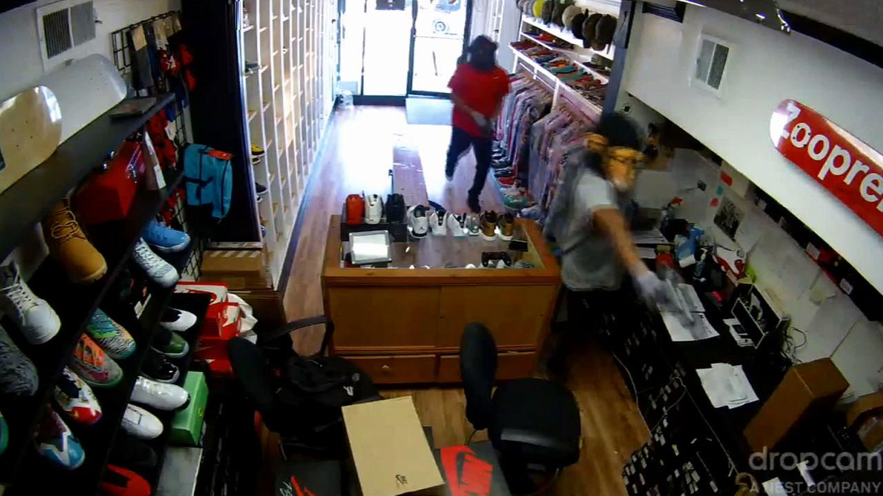 Two armed suspects wearing monkey masks stole boxes of Nike Jordan shoes for women from a sneaker store in the Fairfax District Thursday, Jan. 8, 2014.