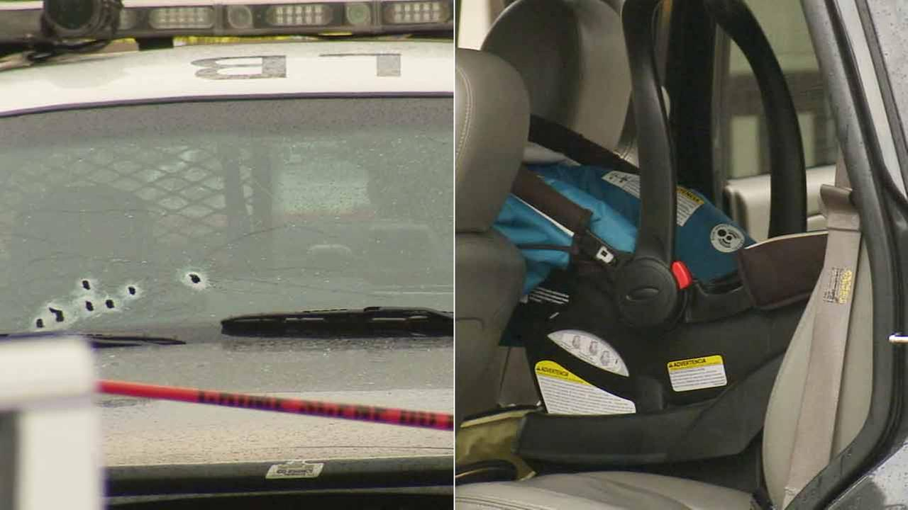 A police patrol car is shown with bullet holes, left, and an infant car seat is shown inside a pursuit suspects vehicle on Saturday, Jan. 10, 2015.