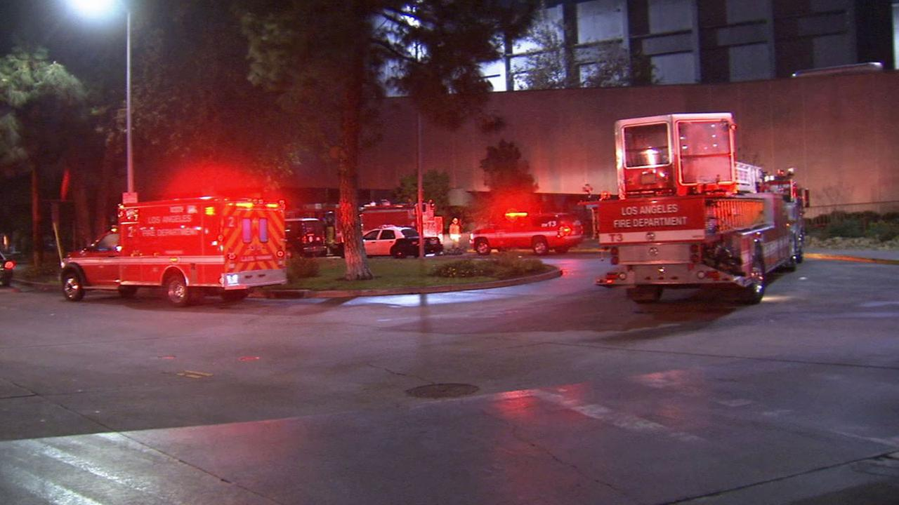 Los Angeles firefighters respond to the scene of several small fires at the Mens Central Jail in downtown Los Angeles Sunday, Jan. 11, 2015.