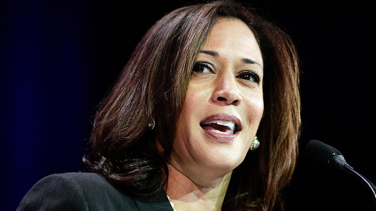 In this March 8, 2014, file photo, California Attorney General Kamala Harris speaks during a general session at the California Democrats State Convention in Los Angeles.