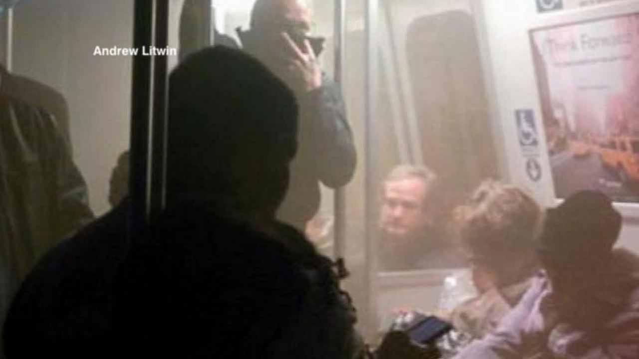 Passengers in a Washington, D.C. Metro train are shown in this photo posted on Twitter by Andrew Litwin.