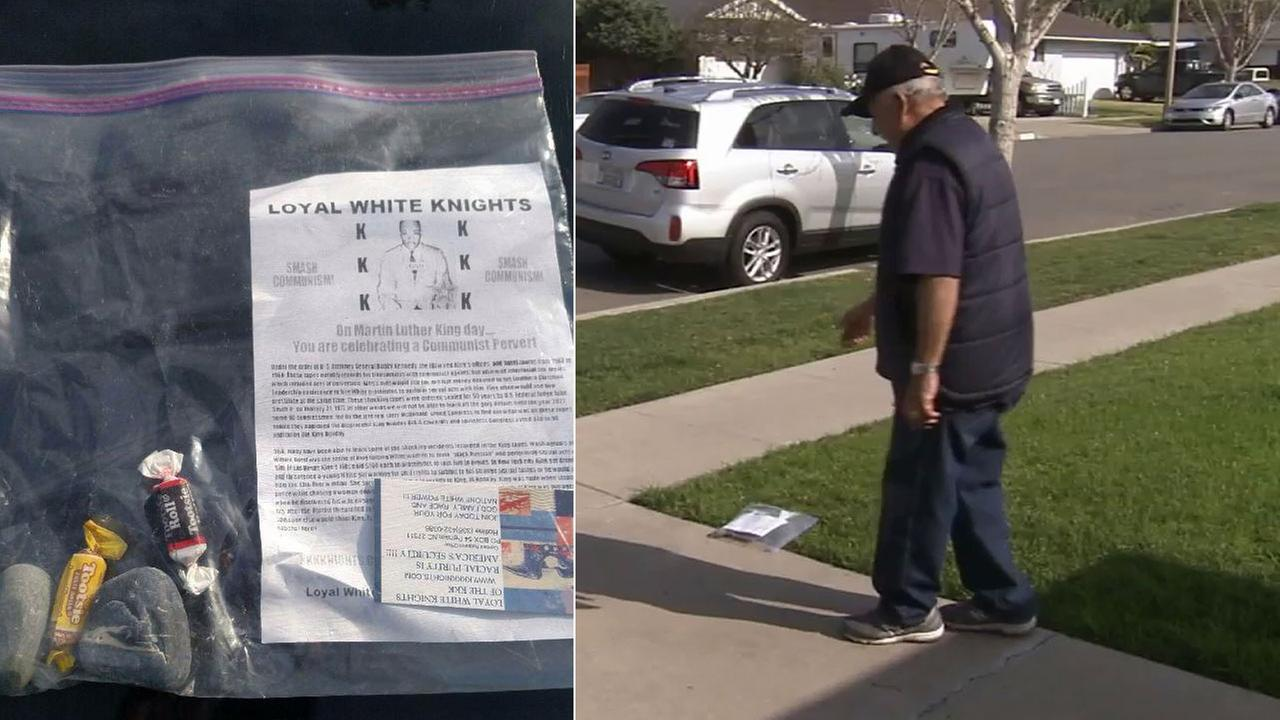 Dozens of ziplock baggies containing a flier with an anti-Martin Luther King Jr. message along with a Ku Klux Klan business card were dropped off at doorsteps in Santa Ana.