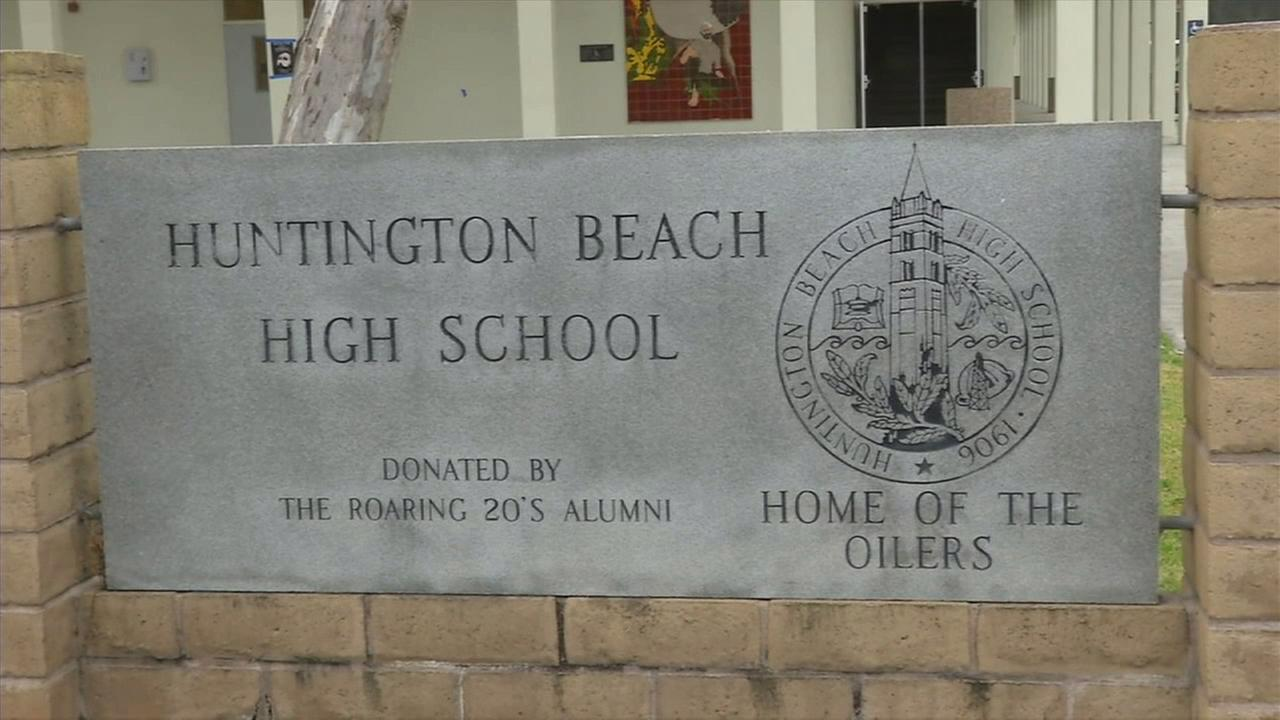 A sign for Huntington Beach High School is seen on Tuesday, Jan. 20, 2015.