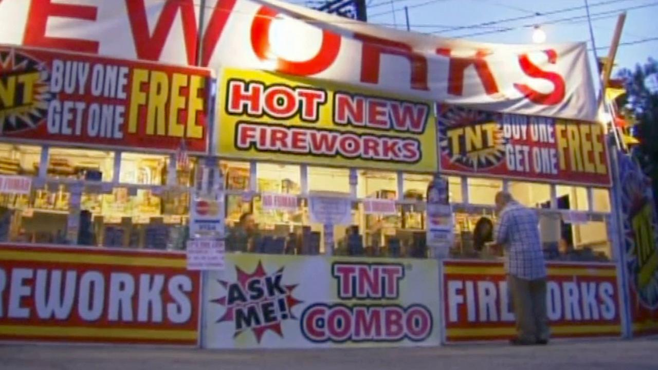 A stand selling fireworks is shown in this undated file photo.