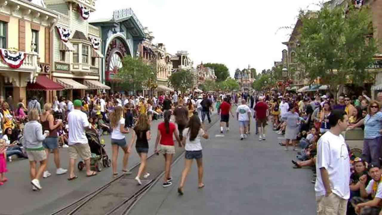People are seen at Disneyland in this undated file photo.