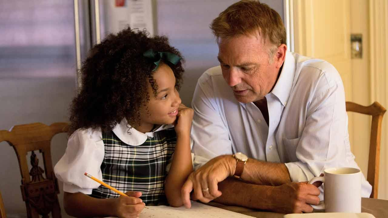 Kevin Costner and Jillian Estell are shown from a scene of the film, Black or White.