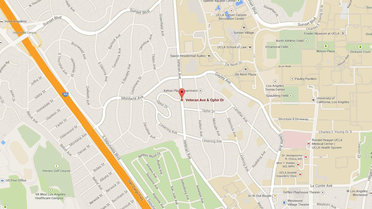 This Google Maps image shows the approximate location where a suspect robbed a UCLA student, and then tried to kidnap her.