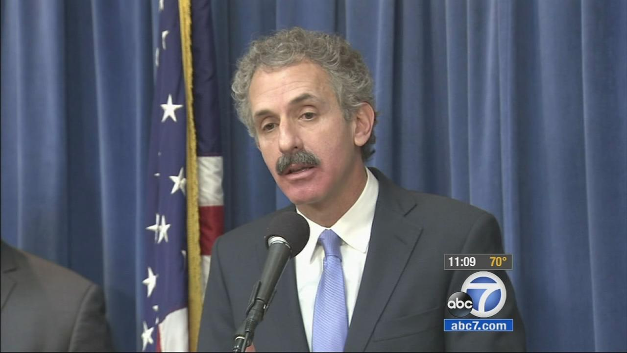 Los Angeles City Attorney Mike Feuer speaks during a news conference on Friday, Jan. 23, 2015.