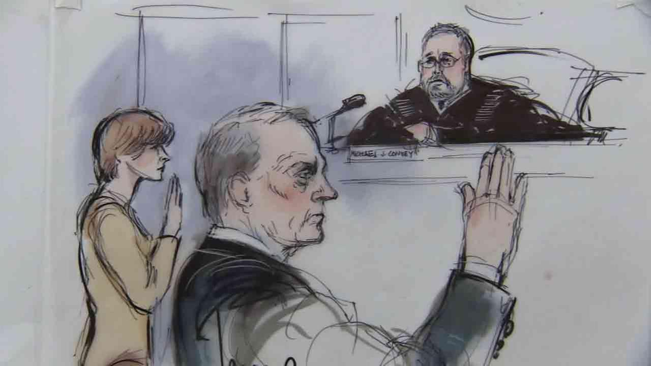 Stephen Collins and Faye Grant appear in court on Friday, Jan. 23, 2015, in these sketches by Mona S. Edwards.