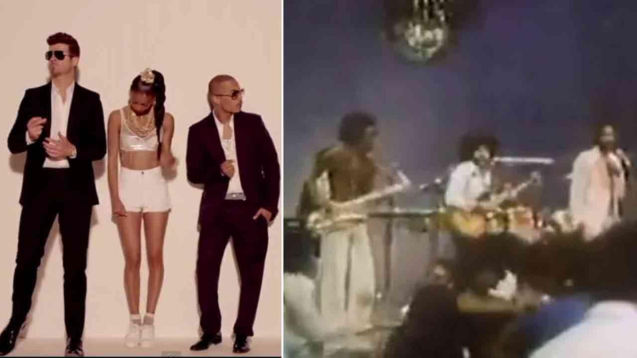 Robin Thicke and Pharrell Williams are seen in the video for Blurred Lines (left). Marvin Gaye is seen performing Got To Give It Up (right)