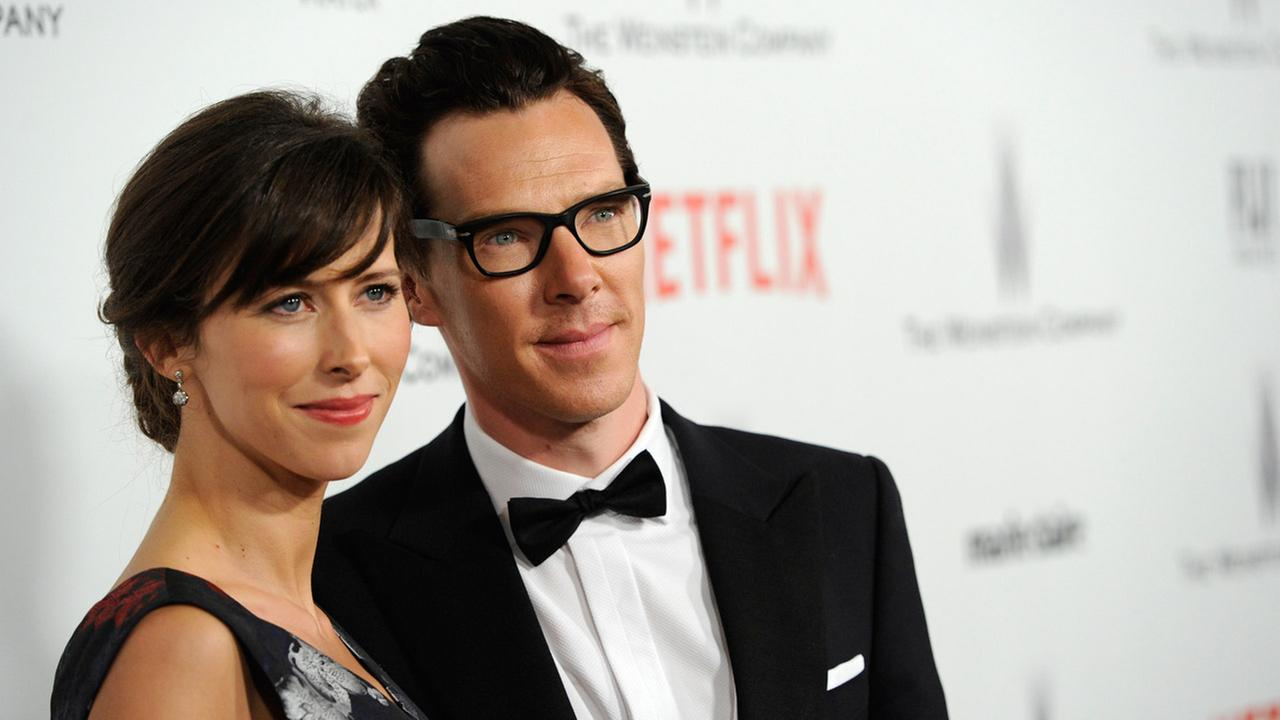 Sophie Hunter, left, and Benedict Cumberbatch arrive at The Weinstein Company and Netflix Golden Globes afterparty at the Beverly Hilton Hotel on Sunday, Jan. 11, 2015.