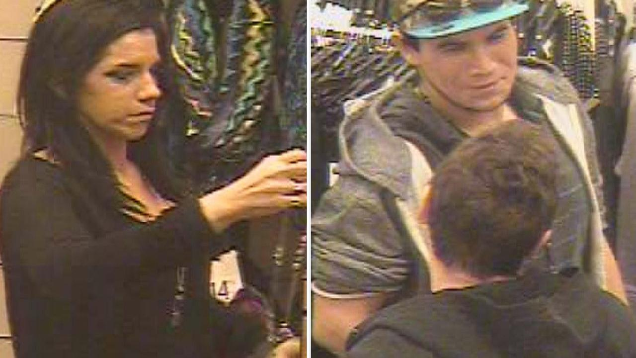 A man and a woman, shown above in surveillance photos, are suspected of stealing two pairs of sunglasses from a Nordstrom Rack in Glendale on Saturday Jan. 17, 2015.