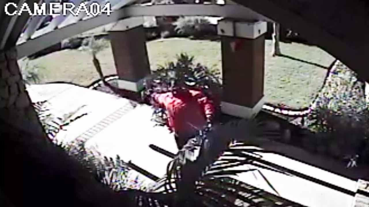 This surveillance still image shows a suspect wanted in an arson fire in Yorba Linda on Monday, Nov. 3, 2014.