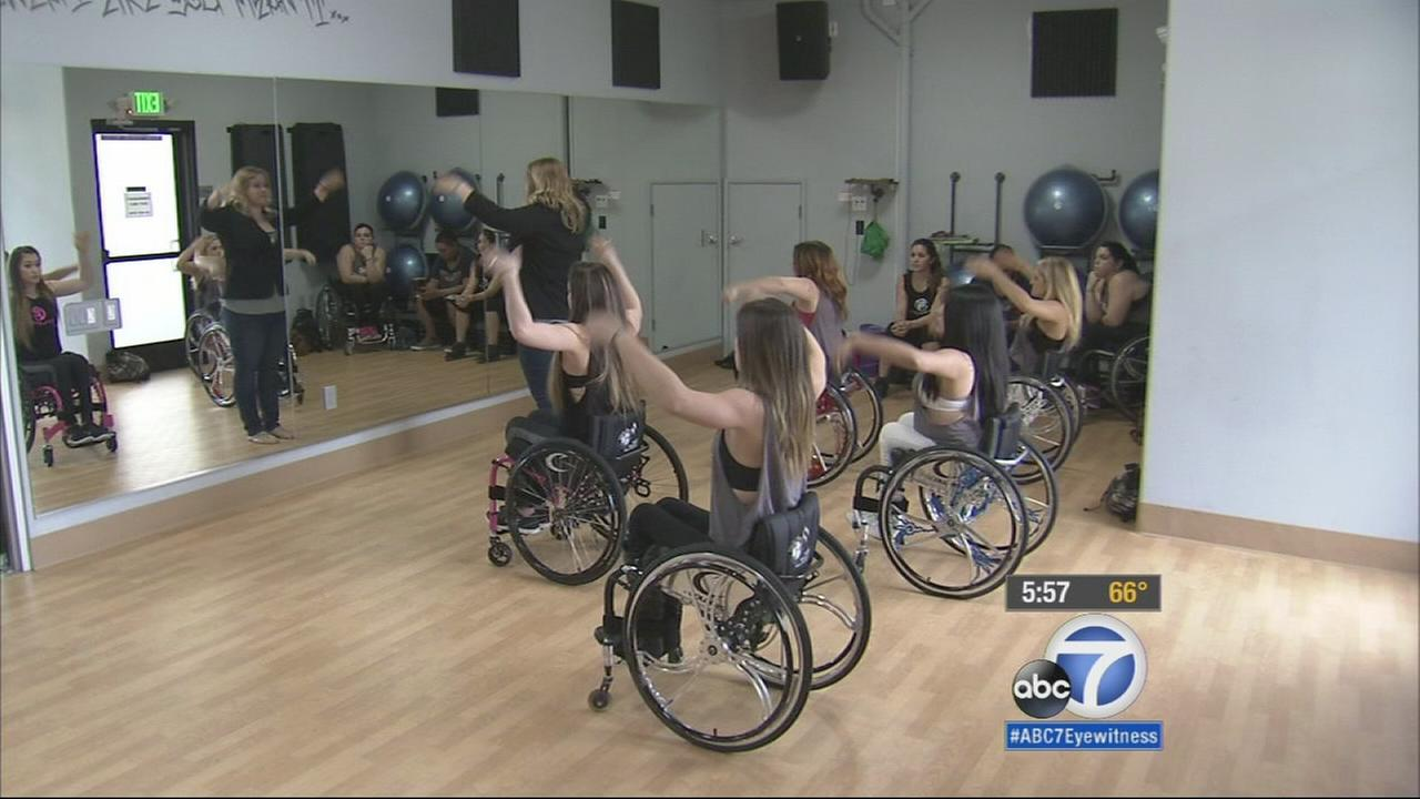 Members of the Walk and Roll dance team are shown taking a class at Cyclepathic in Santa Monica.