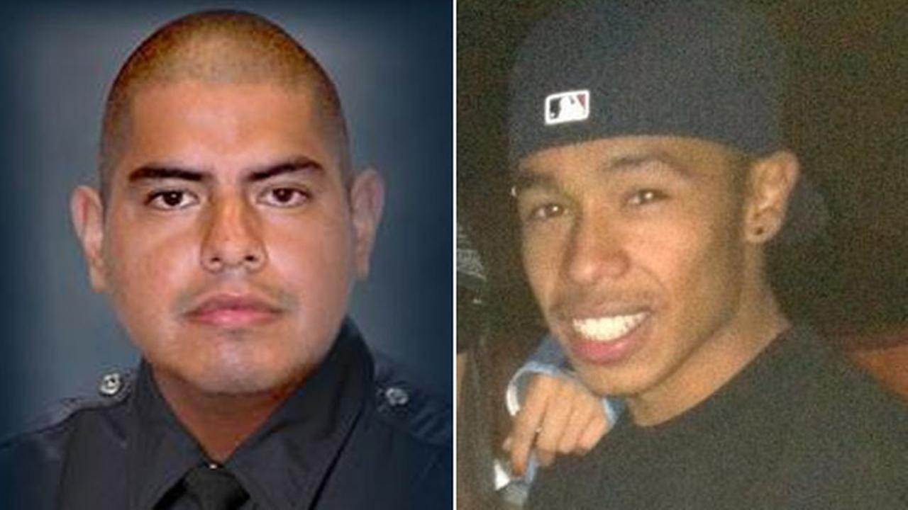 Police said Mynor Enrique Varela, seen on the right in a Facebook photo, rammed the patrol car of LAPD Officer Roberto Sanchez (pictured left), killing him on May 3, 2014.