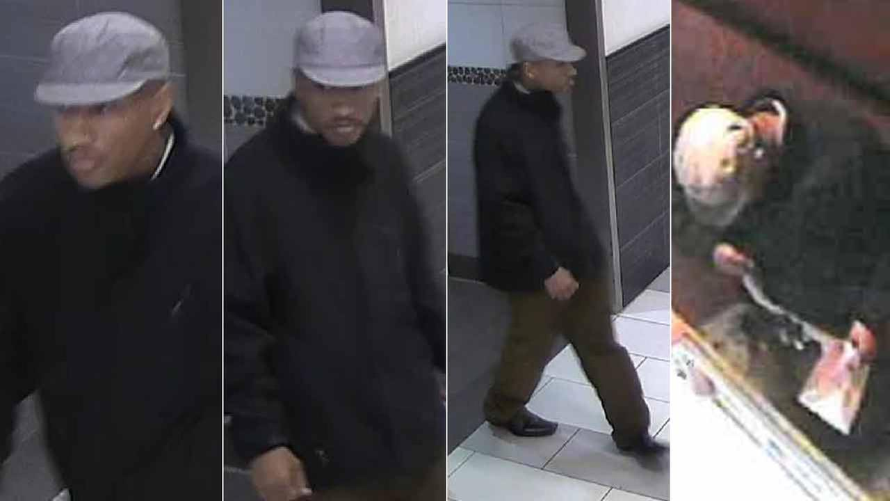 Surveillance images show a man wanted for allegedly stealing four diamond rings from a Zales Jewelers store in Culver City on Monday, Jan. 29, 2015.