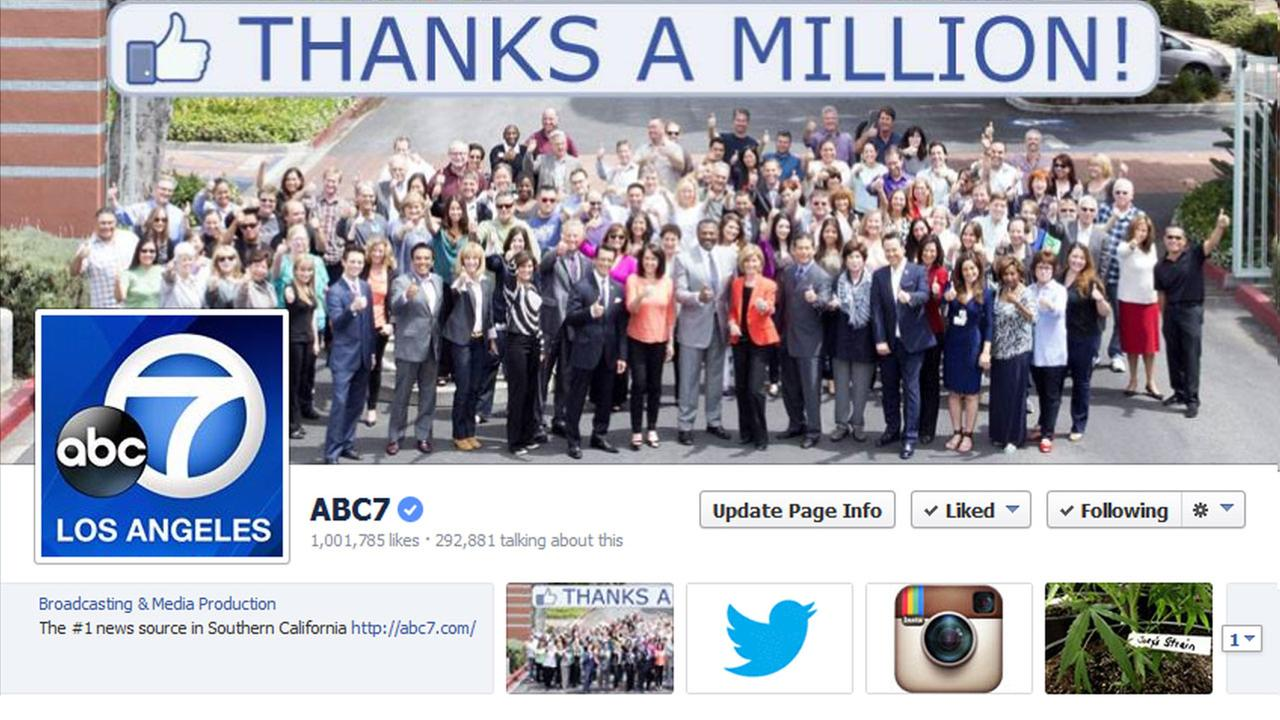 Employees of KABC-TV Los Angeles, ABC7, pose for a photo celebrating the stations Facebook page attracting 1 million fans.