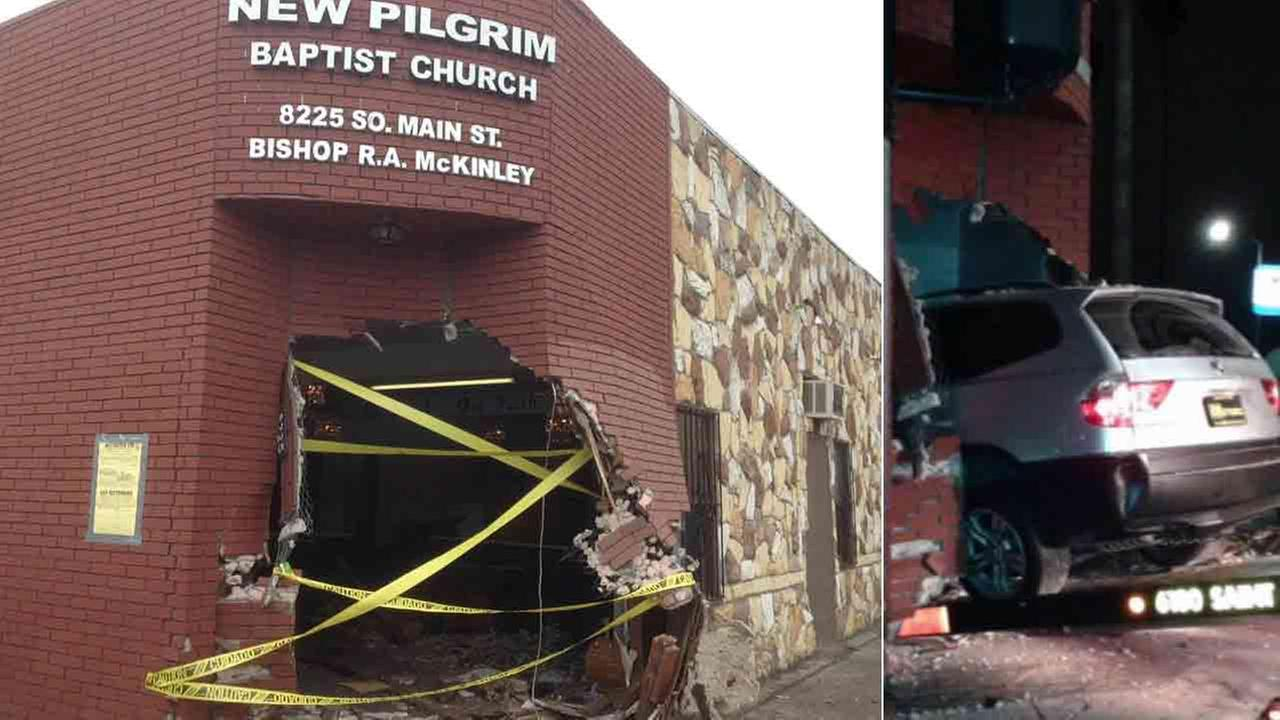 Police are searching for two suspects who crashed into a South Los Angeles church Sunday, Jan. 25, 2015.
