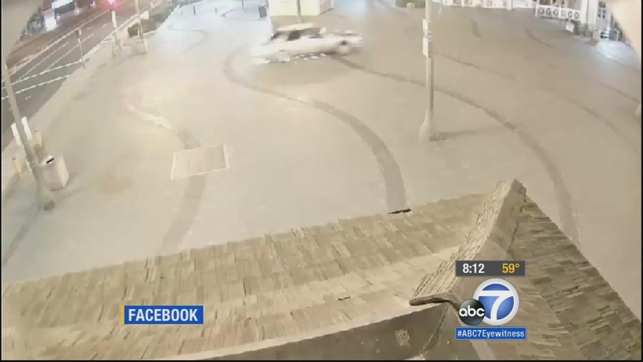 Huntington Beach police posted surveillance video on Facebook that shows a suspected drunk driver speeding onto the pier.