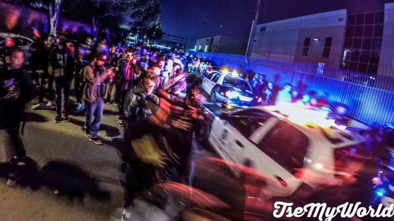 A crowd of about 200 people who showed up in Boyle Heights for a photographic flash mob Saturday, Jan 31, 2015, were dispersed by LAPD.