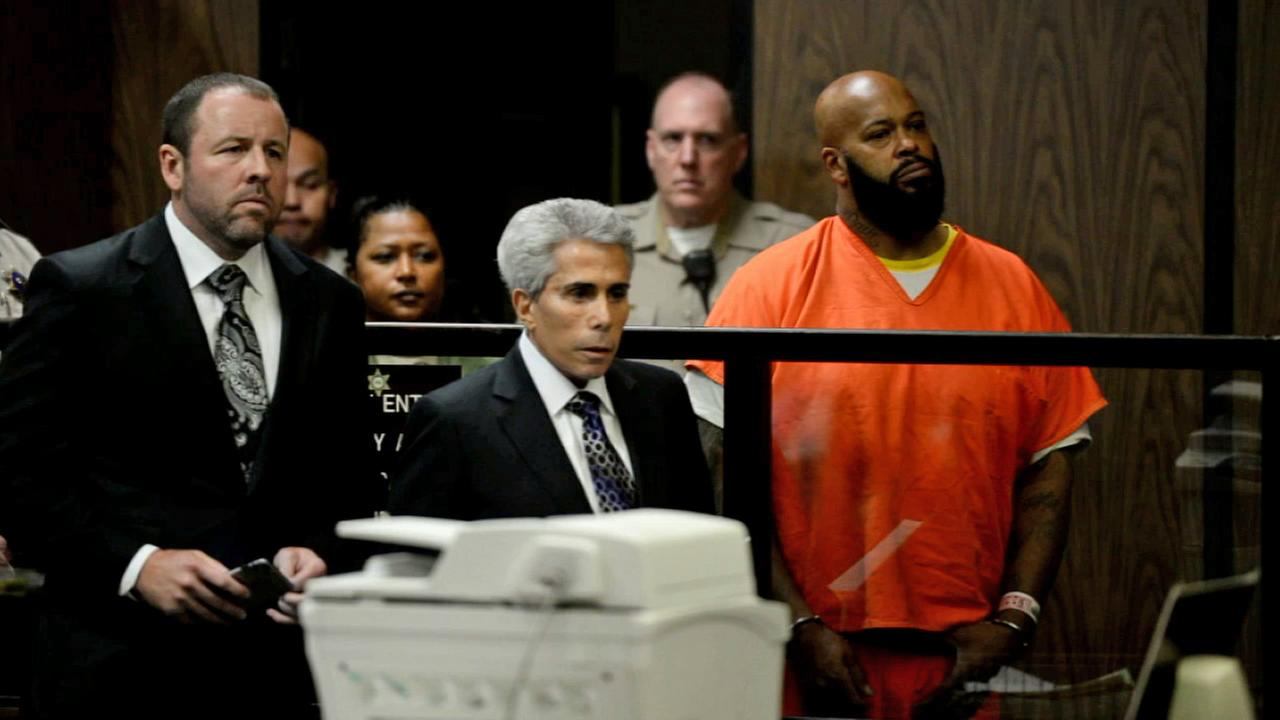 Suge Knight appears in court for an arraignment hearing on Tuesday, Feb. 3, 2015, in connection to a fatal hit-and-run in Compton.
